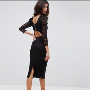 ASOS Lace Sleeveless Midi Dress With Cut Out Back